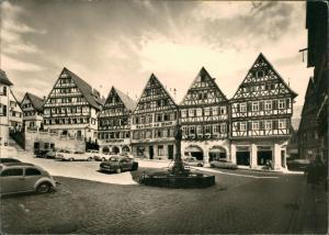 Ansichtskarte Herrenberg Marktplatz VW Käfer 1962