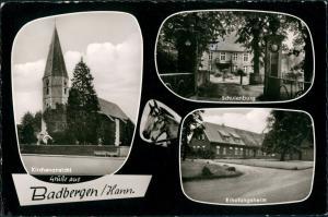 Ansichtskarte Badbergen Kirche, Erholungsheim 1964