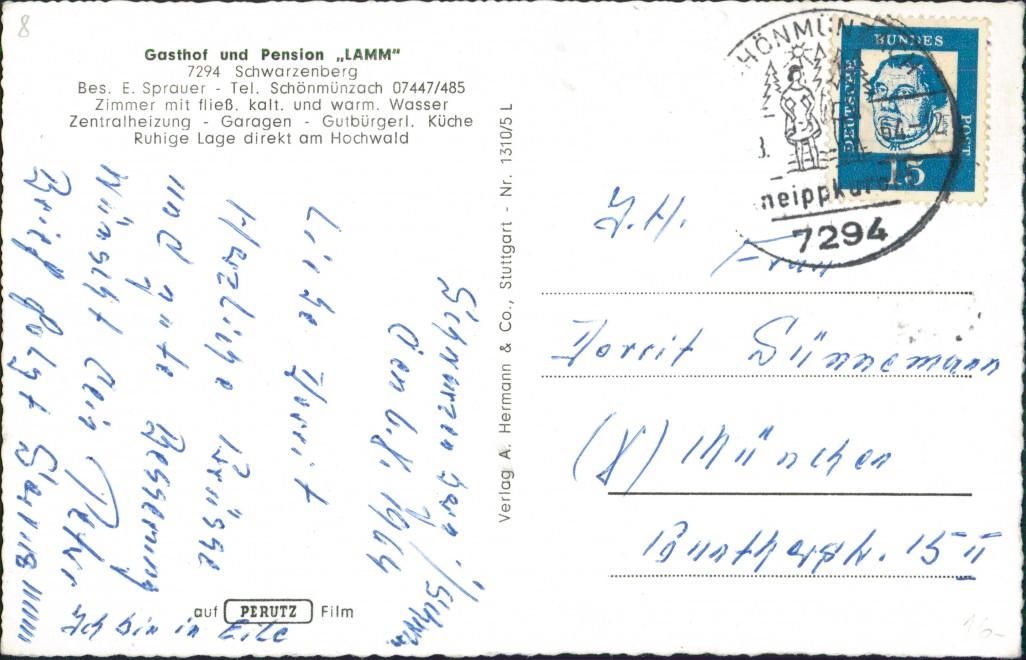 Schwarzenberg mit Schönmünzach-Baiersbronn Gasthof - Pension Lamm Autos 1965 1
