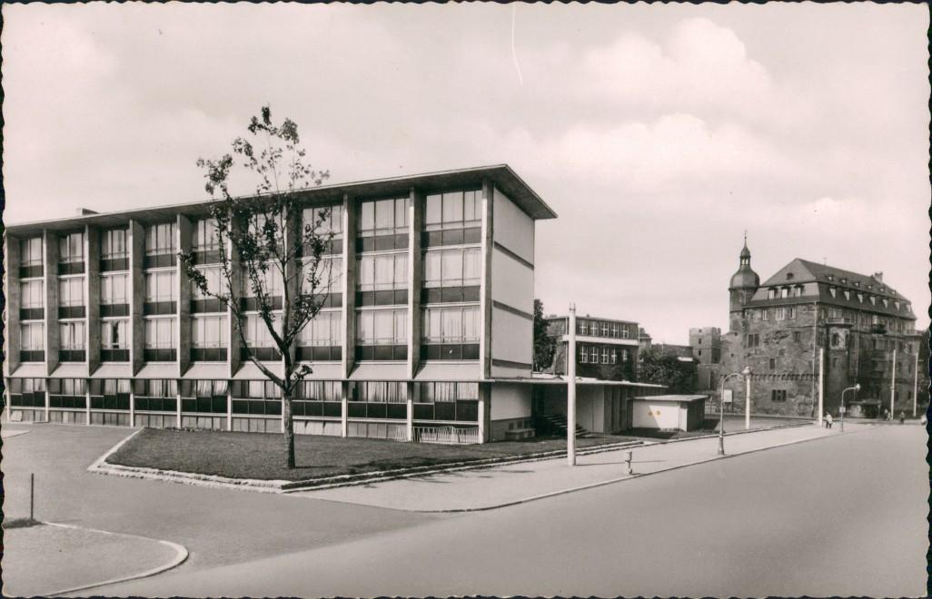 Ansichtskarte Offenbach (Main) Schloß mit Berufsschule 1955 0