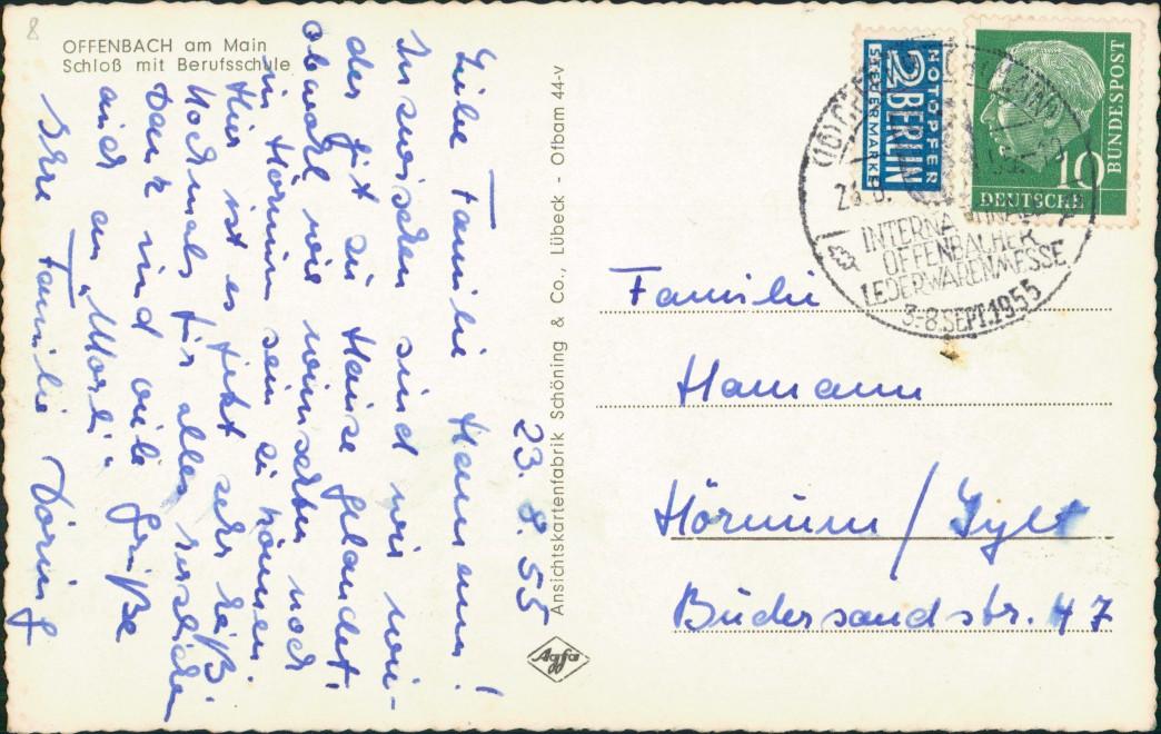 Ansichtskarte Offenbach (Main) Schloß mit Berufsschule 1955 1