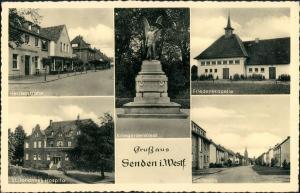 Ansichtskarte Senden (Westfalen) MB: Hospital, Herrenstraße uvm 1955