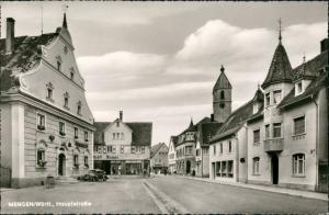 Ansichtskarte Mengen Hauptstraße, Geschäfte 1963