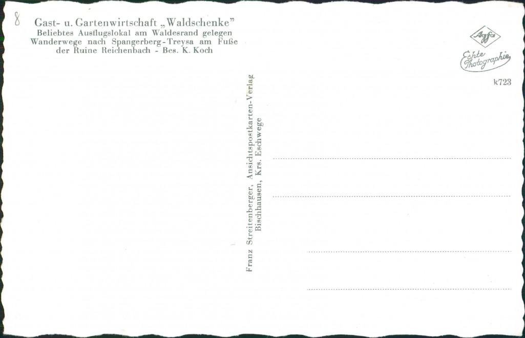 Ansichtskarte Treysa-Schwalmstadt Gast- u. Gartenwirtschaft, Waldschenke 1964 1