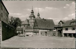 Ansichtskarte Walldürn Schloßplatz mit Wallfahrtskirche, Auto 1964