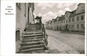 Bad Karlshafen Strassen Partie altes Patrizierhaus, krumme Treppe 1960