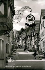 Gundelsheim Württemberg Schloßstrasse Eis-Geschäft, Friseur-Geschäft uvm. 1960