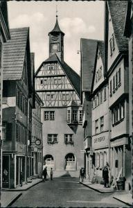 Öhringen Marktstraße mit Rathaus, Café Friedrich, Personen, Geschäfte 1955