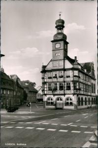 Ansichtskarte Lorsch Bergstraße - Das Rathaus (1715), Fachwerk-Bau 1960