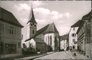 Gundelsheim (Württemberg) Strassen Partie Stadtpfarrkirche Geschäft Lichdi 1960