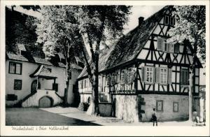 Ansichtskarte Michelstadt Personen, Partie am Kellereihof Kellerei 1955