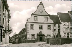 Endingen am Kaiserstuhl Rathaus Platz mit Brunnen Wasserspiele 1960