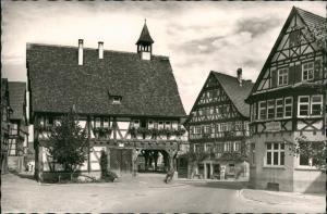 Strümpfelbach (Remstal) Rathaus Partie, Weinort, Fachwerk-Bauten 1960