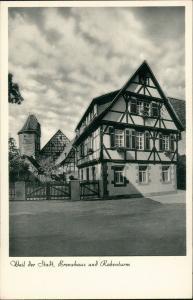 Ansichtskarte Weil der Stadt Strassen Partie Brenzhaus und Rabenturm 1955