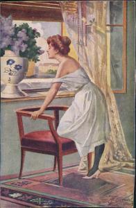 Ansichtskarte  E. Zlamal pinx. Ob er kommt! Gemälde Künstlerkarte 1910