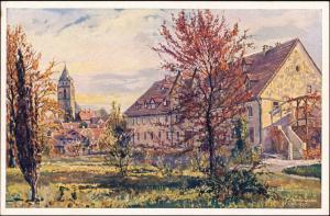 Ansichtskarte Wolfhagen Künstlerkarte: Stadtpartie 1923
