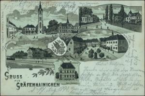 Litho AK Gräfenhainichen MB: Markt, Cafe Walther, Post, Bahnhof 1898