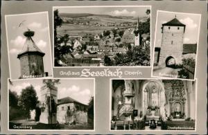 Seßlach Mehrbild-AK mit Storchennest, Geyersberg, Pfarrkirche uvm. 1965