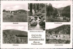 Schwarzenbach am Wald Mehrbild-AK mit Mühle, Waldwasser, Döbraberg uvm. 1957