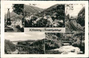 Wirsberg (Oberfranken) Mehrbild-AK mit   Autobahn-Brücke, Eisenbahn uvm. 1962