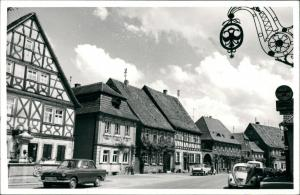Prichsenstadt Foto-Ansicht mit VW Käfer, Strassen Häuser Partie 1965 Privatfoto