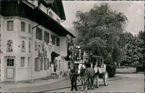 Garmisch-Partenkirchen Gasthof POSTILLON, Pferde Kutsche Fuhrwerk 1970