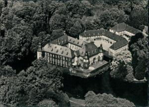 Mönchengladbach Schloss Dyck vom Flugzeug aus, Luftaufnahme 1955