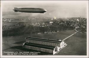Ansichtskarte Manzell-Friedrichshafen Luftbild Zeppelin-Halle Zeppelin 1929