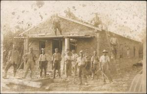 Ansichtskarte  Bauarbeiter - Haus, Gerüst 1918 Privatfoto