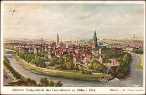 Ansichtskarte Döbeln Karte zum Heimatfest - Künstlerkarte 1914