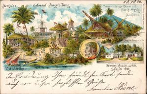 Ansichtskarte Litho AK Berlin MB Colonial Ausstellung Guinea DSWA 1896