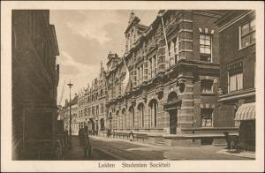 Postkaart Leiden Leyden Straße Studenten Societät 1928