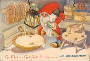 Ansichtskarte  Künstlerkarte Zwerge in der Backstube Aina Stenberg 1947