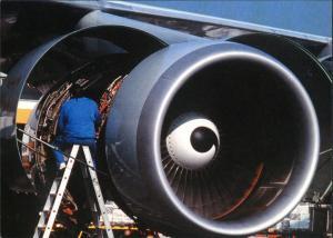 Lufthansa Arbeiten am Triebwerk, Techniker, Flugwesen Flugzeug 1990