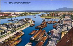 Ansichtskarte Basel Kleinhüninger Rheinhafen. 1913