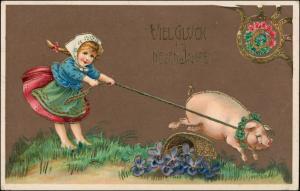 Neujahr Mädchen und Glücksschwein - Gold-Präge AK 1912 Goldrand