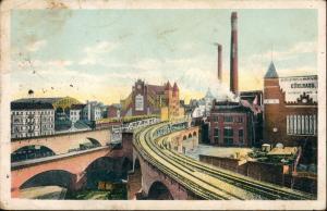 Ansichtskarte Kreuzberg-Berlin Hochbahn Gleisdreieck - Kühlhaus 1913