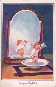 Ansichtskarte  mädchen vor Spiegel Morgen Toilette Kinderkarte signiert 1913