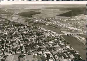 Ansichtskarte Kitzingen Luftbild Überflug Zentrum mit Fernansicht 1960