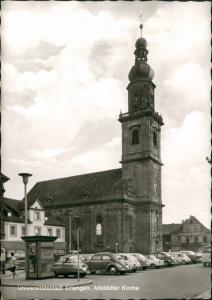 Ansichtskarte Erlangen Kirche, VW Käfer Beetle, Isetta Telefonzelle 1967
