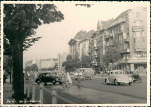 Ansichtskarte Charlottenburg-Berlin Kaiserdamm VW Käfer Beetle Bulli 1962