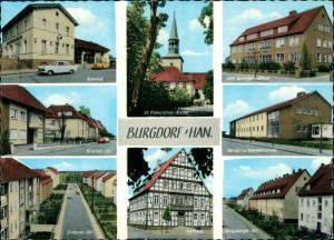 Burgdorf (Han) Mehrbild-AK Bahnhof, Berufsschule, Strassen Wohnhäuser 1970