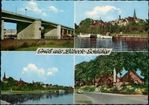 Schlutup-Lübeck 4 Ansichten aus Schlutup, Brücke, Straße, Boote 1969