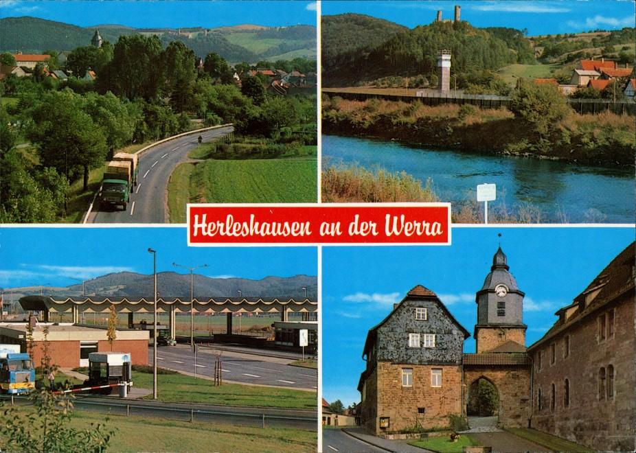 Herleshausen Mehrbild-AK Grenze Kontrollstelle BRD-DDR, Burg, Werra Partie 1980 0