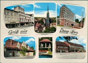 Ansichtskarte Peine Mehrbild-AK Geschäft Am Markt, Bahnhof, Kirche uvm. 1965