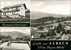 Ansichtskarte Asbach (Westerwald) Privatpension Albertr Weinberger MB 1961