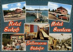 Haltern am See Hotel Seehof Mehrbild-AK ua. VW Käfer Cabrio, Anlegestelle uvm. 1963