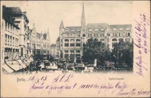 Ansichtskarte Mitte-Berlin Spittelmarkt Straßenbahn Kutsche 1903