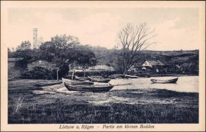 Ansichtskarte Lietzow (Rügen) Gutshaus Partie am kleinen Bodden 1924
