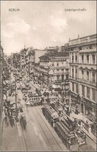 Mitte-Berlin Leipziger Straße - Geschäfte Straßenbahn Verkehr 1913